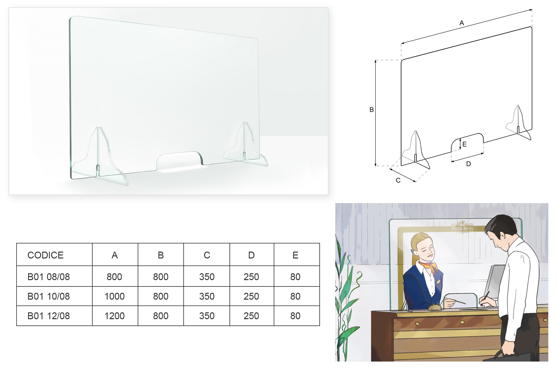 Barriere protettive in vetro per reception