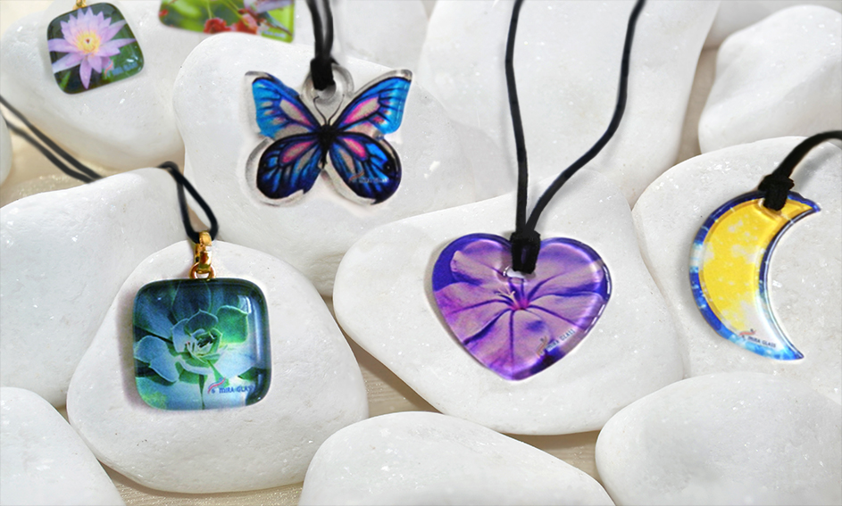 Glass jewels with a printed images