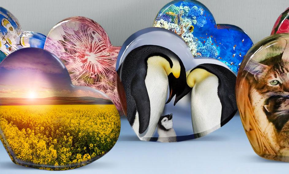 Coeur de verre avec impression d'image numérique - Mira Glass