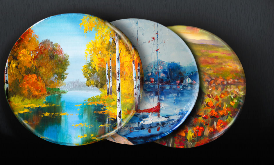 Plats de verre décorées avec impression numérique d'images sélectionnées