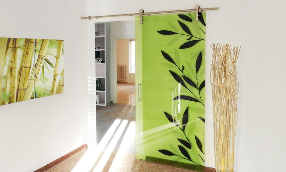 Door with printing glass