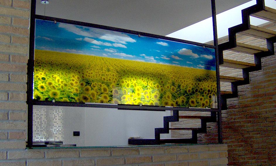 Trennglas mit Blumendruck