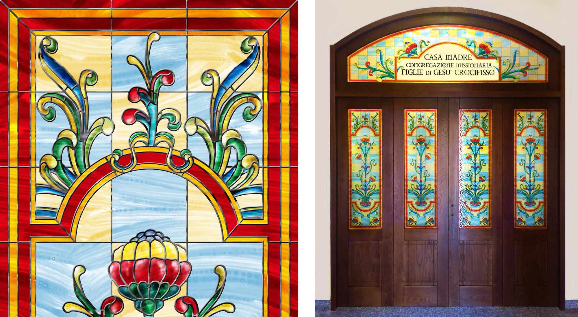 Porte a vetri decorati  per luoghi di culto