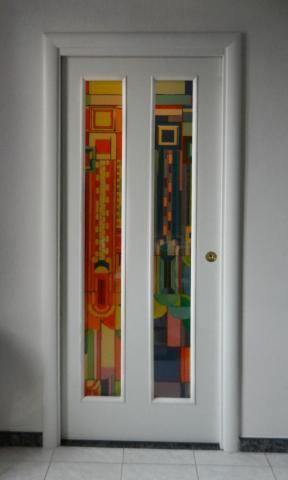 Porta in vetro decorata con stampa digitale