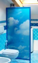 Vetro decorato con stampa su vetro per separé in bagno